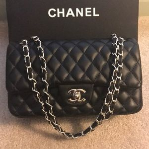 Medium Chanel Double Flap bag w/ silver hardware